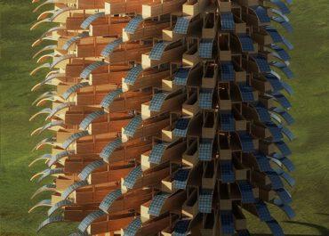 როგორი იქნება ხისგან აშენებული შენობა, რომლის ფასადიც ფოთლის ფორმის მზის პანელებით დაიფარება